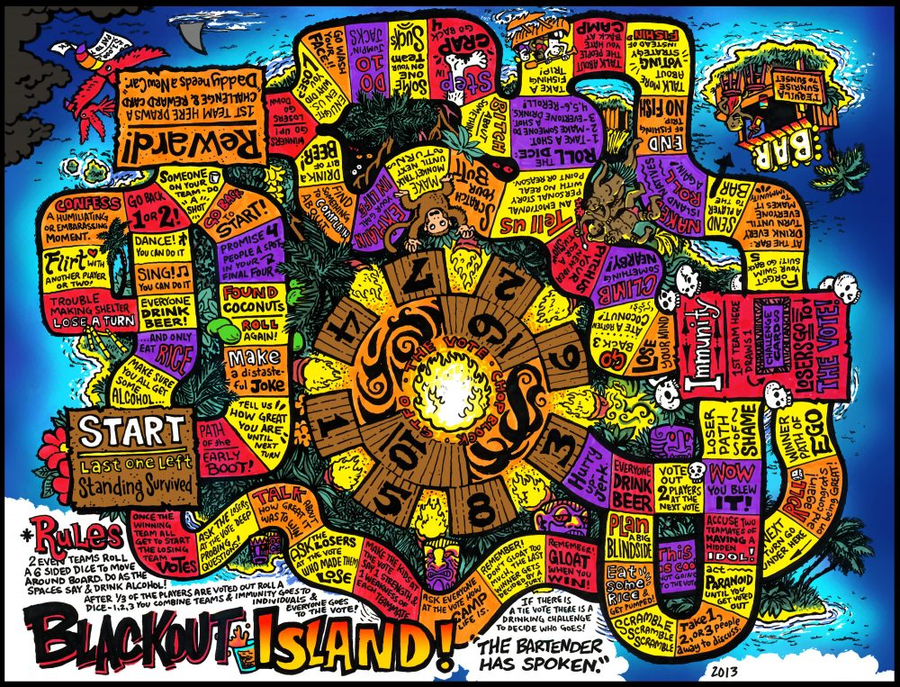 Dabu Doodles - Blackout Island the Drinking Board Game