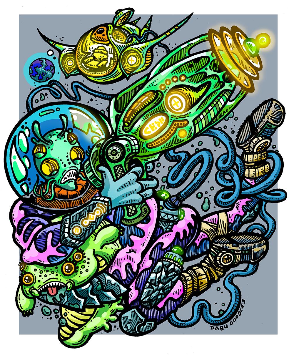 Dabu Doodles by Erik Reichenbach: Ray Gun Emoji Character