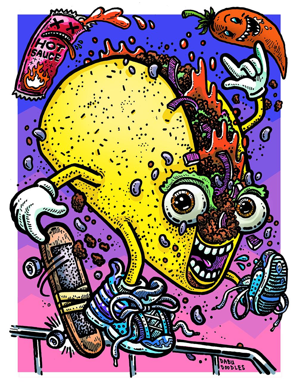 Dabu Doodles by Erik Reichenbach: Taco Tuesday Emoji Character